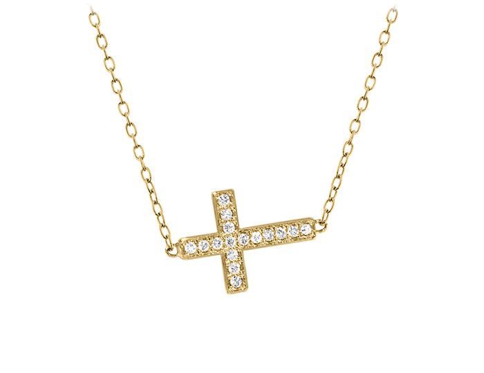 Round brilliant cut diamond sideways cross in 14k yellow gold.
