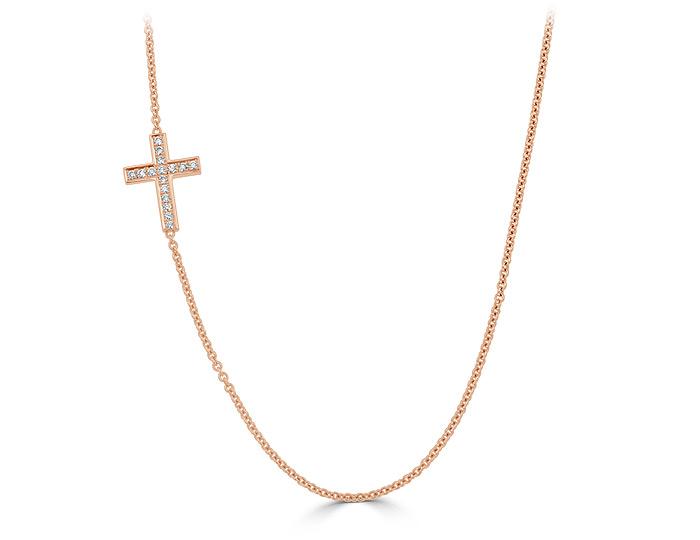 Round brilliant cut diamond cross necklace in 18k rose gold.