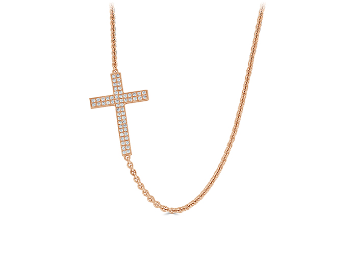 Round brilliant cut diamond sideways cross in 14k rose gold.