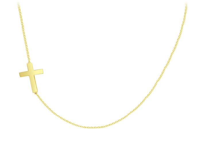 14k yellow gold sideways cross necklace.
