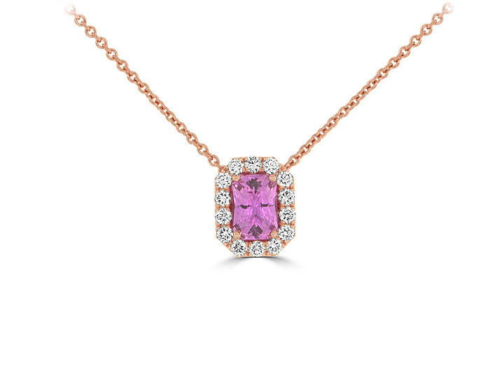 Pink sapphire and round brilliant cut diamond pendant in 18k rose gold.