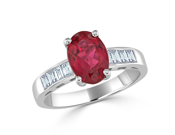 Pink tourmaline and baguette cut diamond ring in 18k white gold.