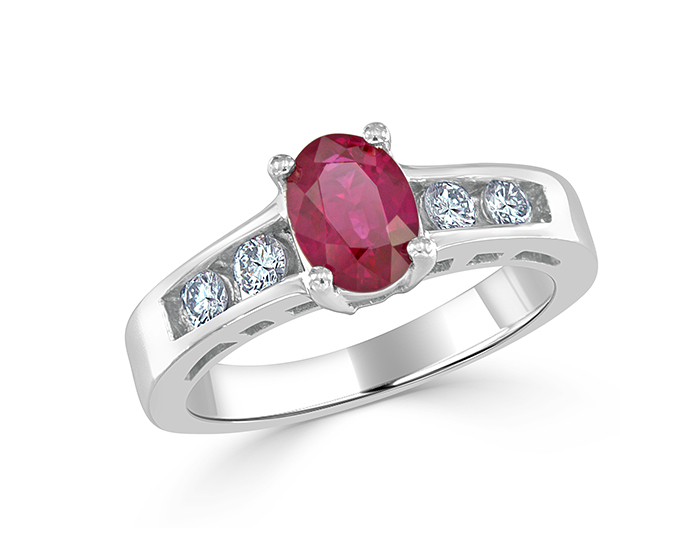 Ruby and round brilliant cut diamond ring in platinum.