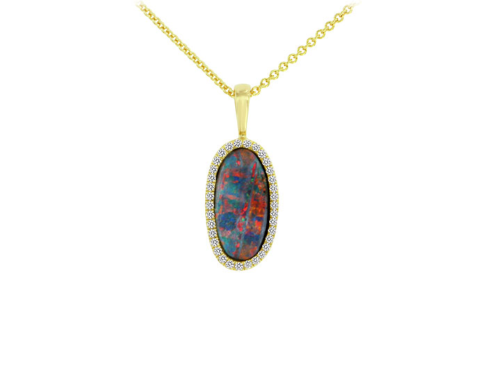 Black opal and round brilliant cut diamond pendant in 18k yellow gold.