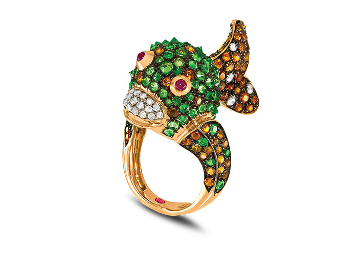 Roberto Coin Animalier Collection reverse set tsavorite garnet, citrine and round brilliant cut diamond fish ring in 18k rose gold.