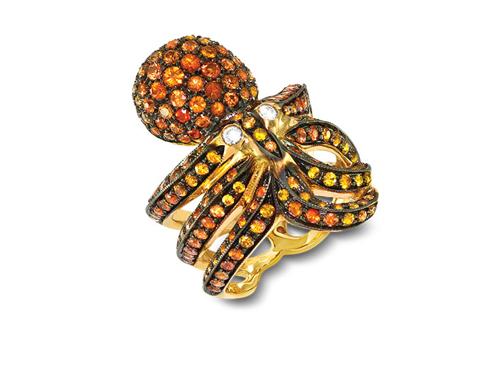 Roberto Coin Animalier Collection orange sapphire and round brilliant cut diamond octopus ring in 18k rose gold.