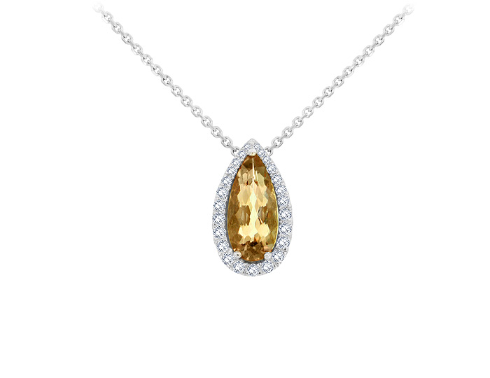 Pear shape imperial topaz and round brilliant cut diamond pendant in 18k white gold.