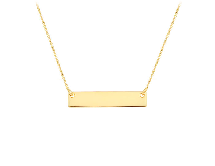 Bar necklace in 14k yellow gold.