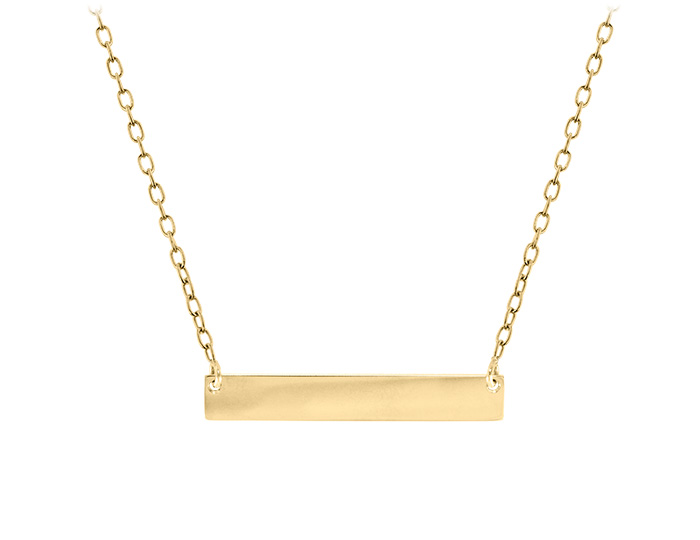 Ladies bar necklace in 14k yellow gold.