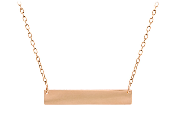Ladies bar necklace in 14k rose gold.
