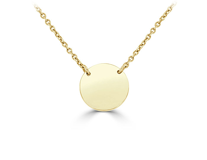 Disc pendant in 14k yellow gold.