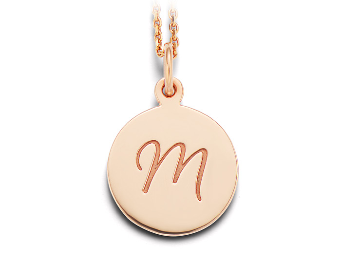 "14k yellow gold initial ""M"" necklace."