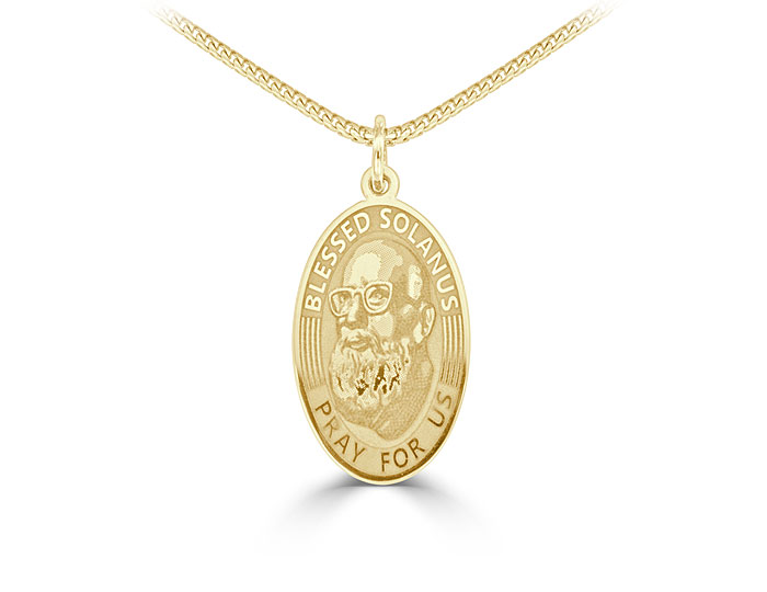 Blessed Solanus pendant in 14k yellow gold.