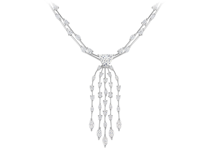 Trillion, marquise, pear and oval shape diamond necklace in platinum.