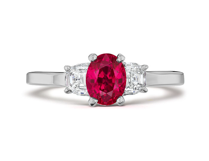 Ruby and half-moon shaped diamond ring in platinum.