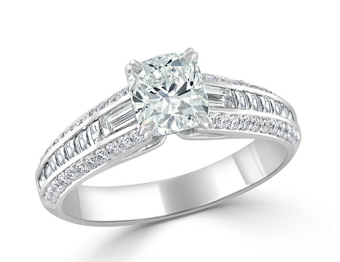 Cushion cut, baguette cut, blaze cut and round brilliant cut diamond engagement ring in 18k white gold.