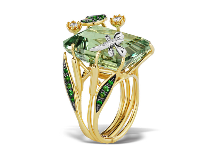 Roberto Coin Animalier Collection prasiolite, tsavorite and diamond ring in 18k yellow gold.