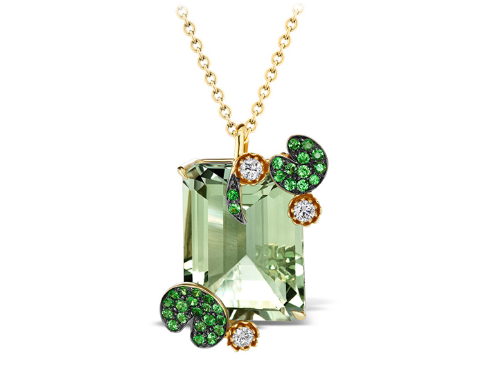 Roberto Coin Animalier Collection prasiolite, tsavorite and diamond necklace in 18k yellow gold.