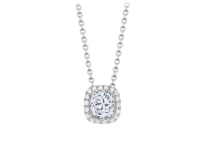 Cushion cut and round brilliant cut diamond pendant in 18k white gold.
