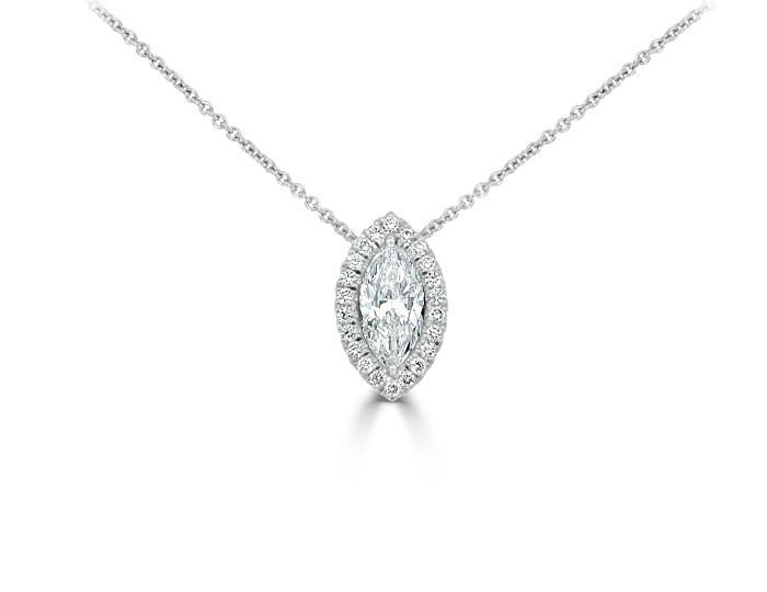 Marquise cut and round brilliant cut diamond pendant in 18k white gold.