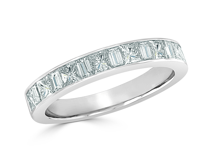 Princess cut and baguette cut diamond band in 18k white gold.