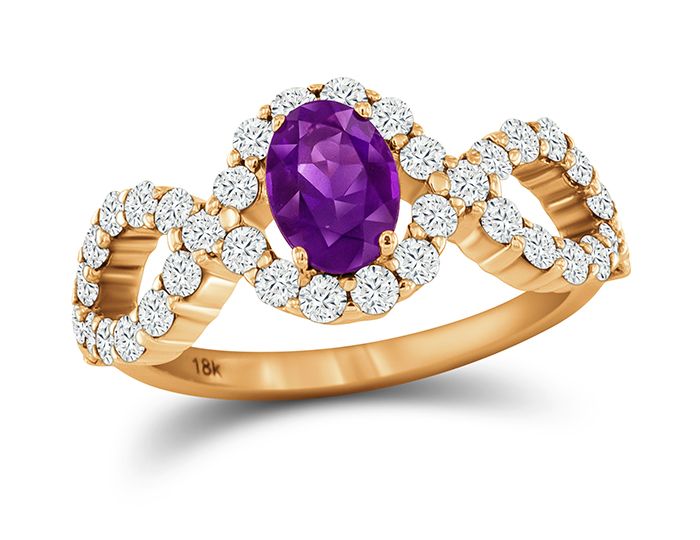 Amethyst and round brilliant cut diamond ring in 18k rose gold.