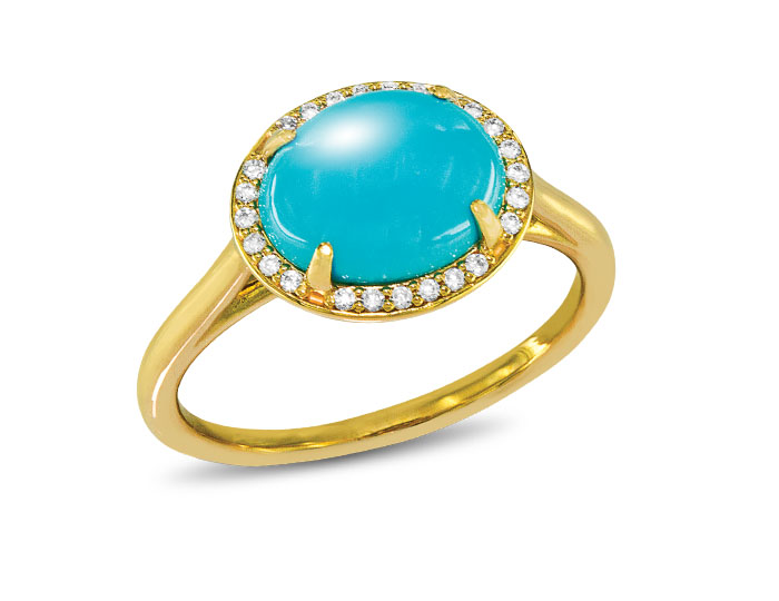 Turquoise and round brilliant cut diamond ring in 18k yellow gold.