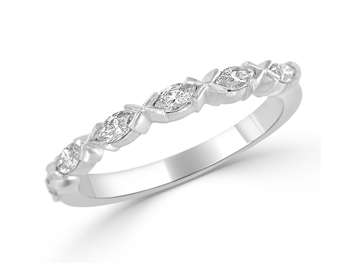 Marquise cut diamond band in platinum.