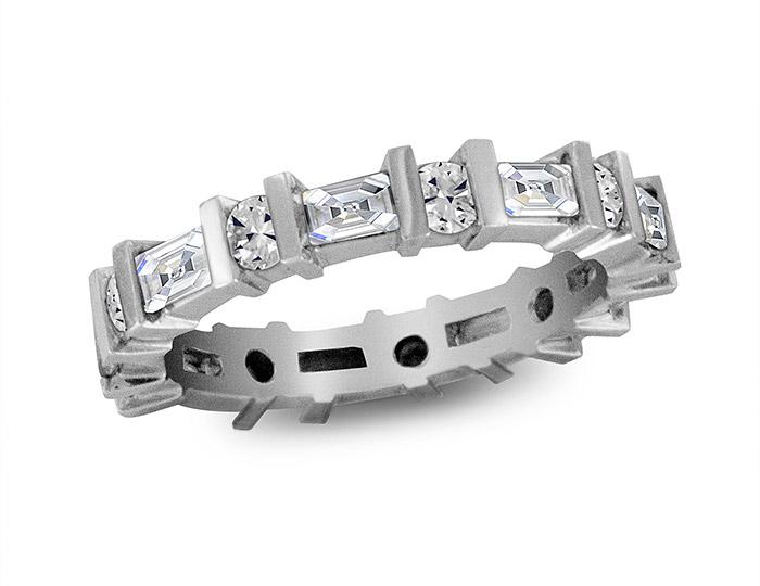 Baguette cut and round brilliant cut diamond band in platinum.