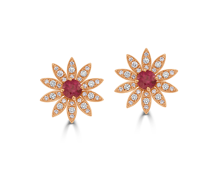 Bez Ambar ruby and round brilliant cut diamond earrings in 18k rose gold.