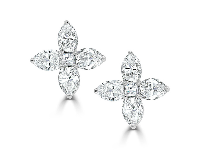 Pear shape and blaze cut diamond earrings in 18k white gold.