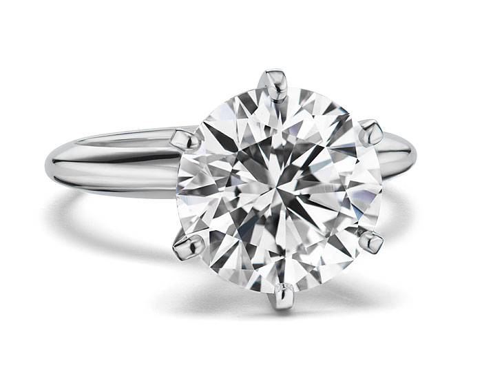Round brilliant cut diamond solitaire engagement ring in platinum.