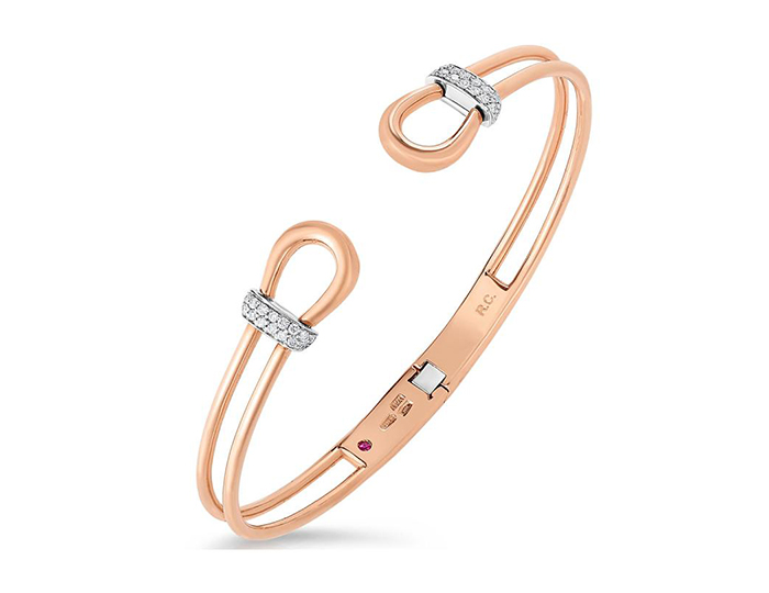 Roberto Coin Classica Parisienne Collection round brilliant cut diamond bracelet in 18k rose gold.