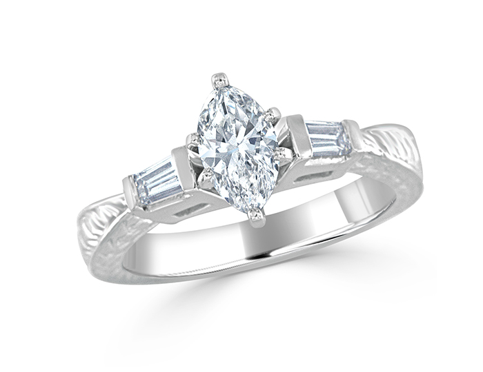 Marquise and baguette cut diamond engagement ring in platinum.