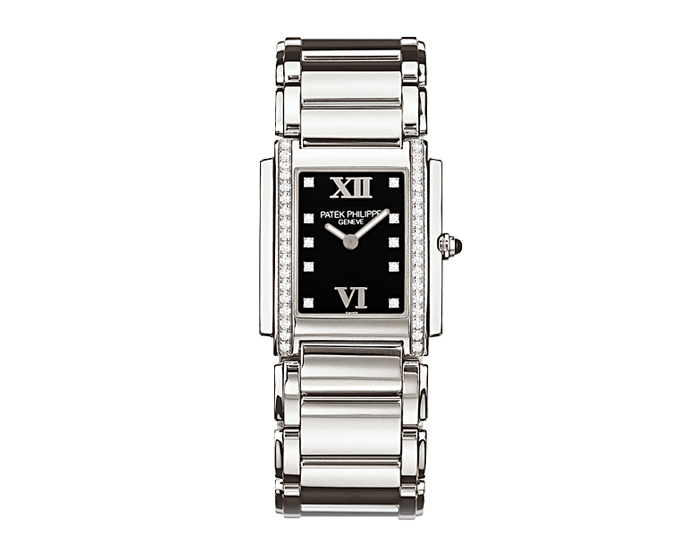 Patek Philippe Twenty~4 ladies stainless steel diamond case bracelet watch featuring a Forever Black diamond dial.  (4910/10A-001)