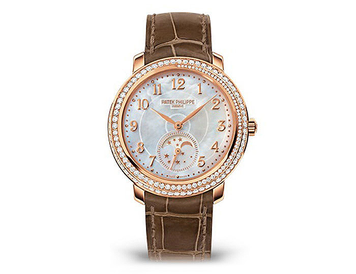 "Patek Philippe ladies 18k rose gold ""Diamond Ribbon"" mechanical self-winding strap watch featuring a spiral engraved white mother-of-pearl dial. (4968R-001)"