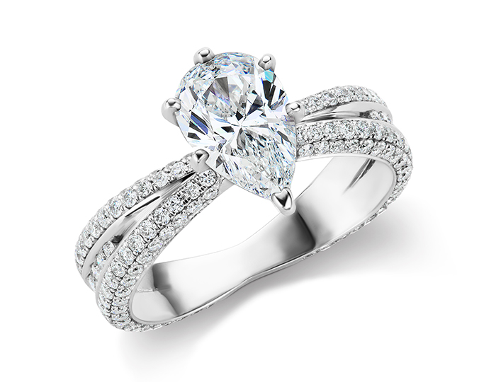 Pear shape center diamond with round brilliant cut diamond engagement ring in 18k white gold.
