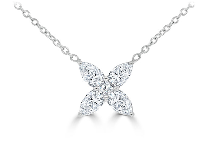 Bez Ambar blaze and marquise cut diamond necklace in 18k white gold.