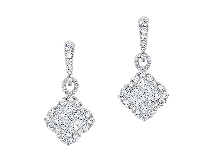 Princess and round brilliant cut diamond earrings in 18k white gold.