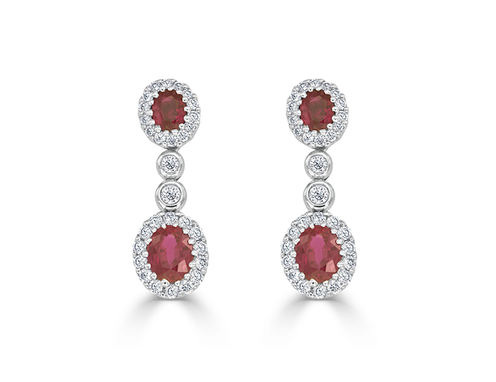 Ruby and diamond earrings in 18k white gold.