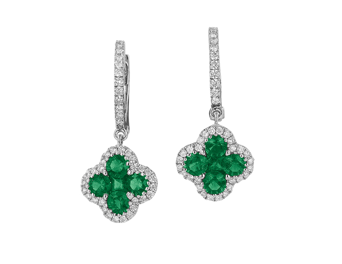 Emerald and round brilliant cut diamond earring in 18k white gold.