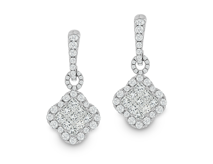 Princess cut and round brilliant cut diamond earrings in 18k white gold.