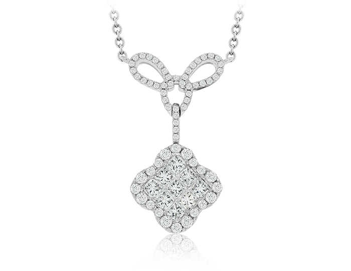 Princess cut and round brilliant cut diamond necklace in 18k white gold.