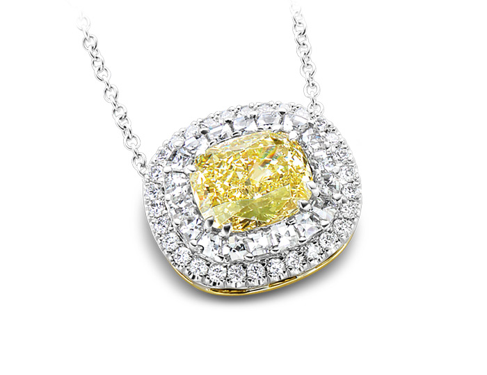 Bez Ambar cushion cut fancy yellow diamond, blaze cut and round brilliant cut diamond pendant in 18k white gold.