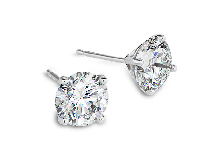 Round brilliant cut diamond stud earrings in platinum.                                                              In stock and available from $495 to $39,500.