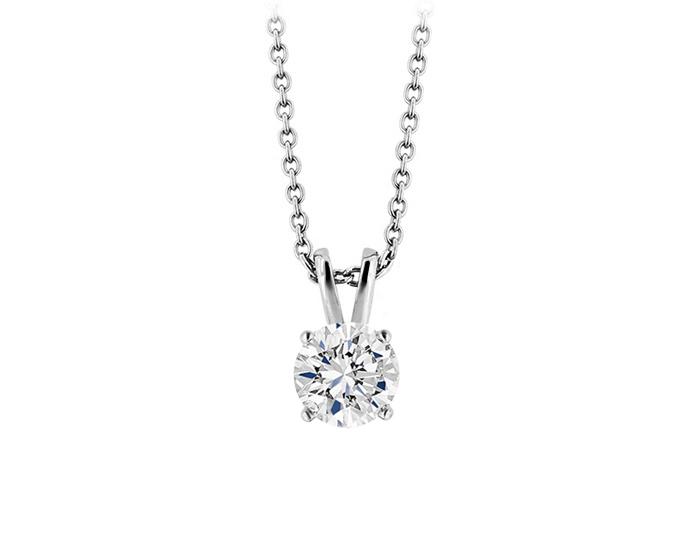 Round brilliant cut diamond pendant in 18k white gold.