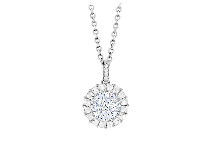 Divine cut diamond pendant with blaze cut and round brilliant cut diamonds in platinum.