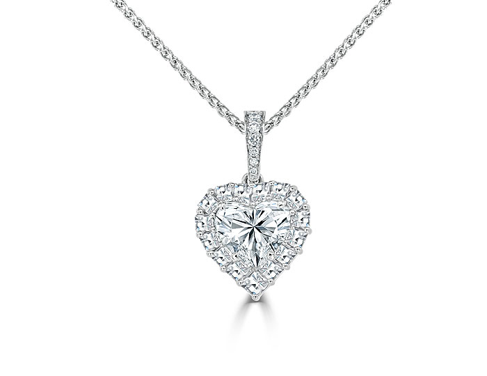 Heart shaped, blaze cut and round brilliant cut diamond pendant in 18k white gold.