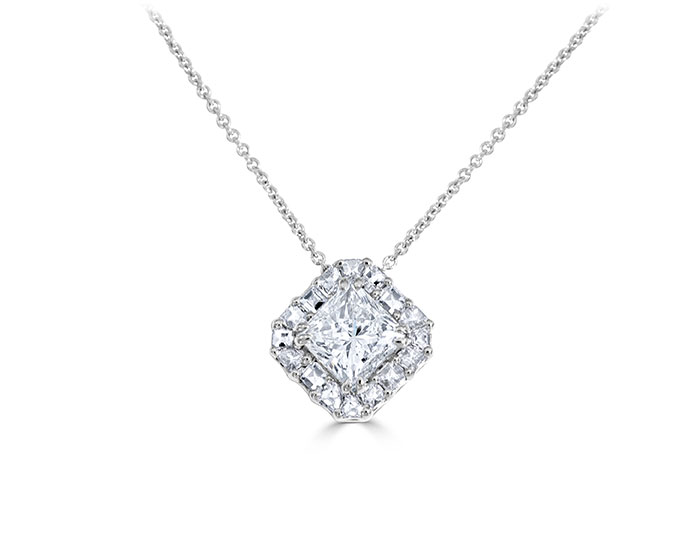 Princess cut and blaze cut diamond pendant in 18k white gold.