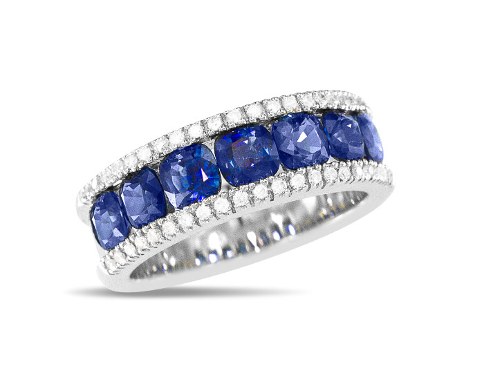 Sapphire and round brilliant cut diamond ring in 18k white gold.